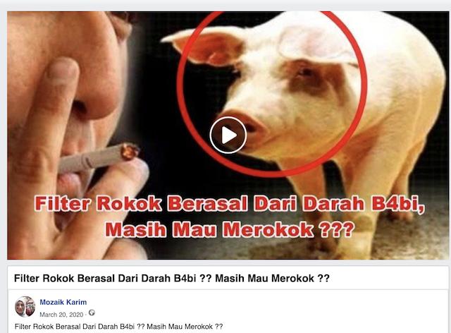 [Cek Fakta] Viral Video Filter Rokok Mengandung Darah Babi? Cek Faktanya