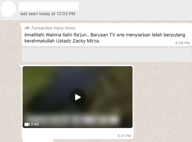 [Cek Fakta] Ustaz Zacky Mirza Dikabarkan Meninggal Dunia, Ini Cek Faktanya