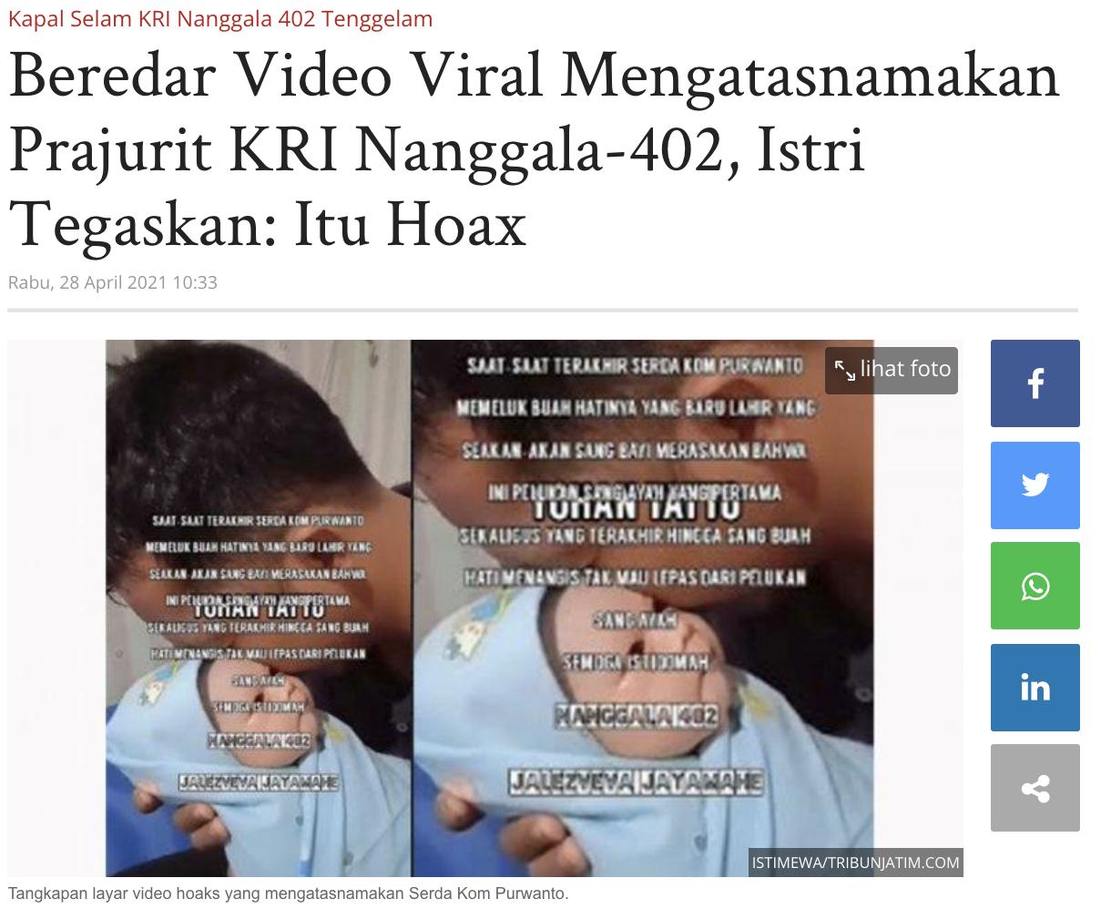 [Cek Fakta] Video Prajurit KRI Nanggala 402 Menggendong Bayinya yang Baru Lahir Sebelum Berlayar? Ini Faktanya