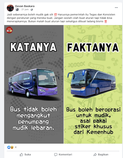 [Cek Fakta] Kemenhub jadikan Larangan Mudik Ladang Bisnis dengan Jualan Stiker Khusus Bus? Ini Faktanya