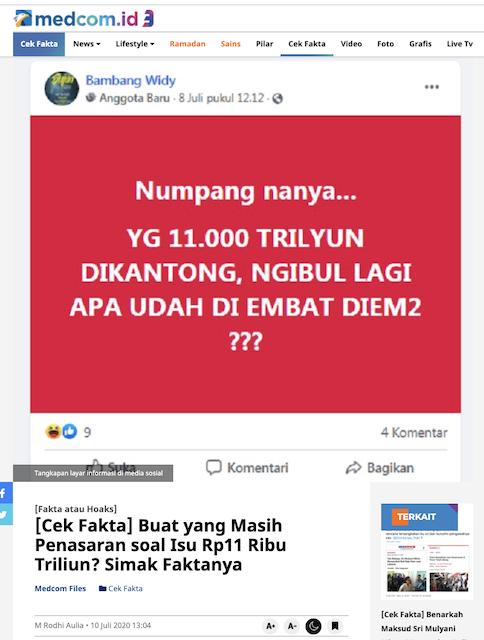 [Cek Fakta] Di Kantong Jokowi Ada Uang Rp11 Ribu Triliun? Ini Faktanya