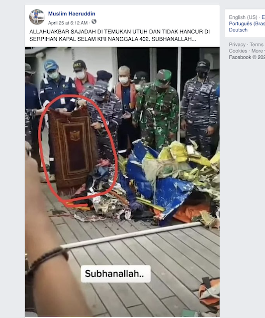 [Cek Fakta] Foto Sajadah Utuh Tidak Terbakar Bagian dari Serpihan KRI Nanggala-402? Ini Faktanya