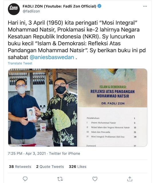 [Cek Fakta] Fadli Zon Siap Dampingi Anies di Pilpres? Ini Faktanya