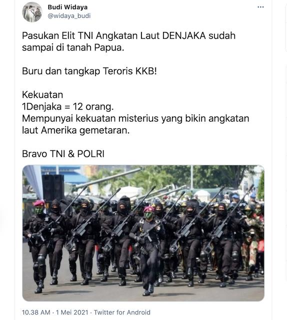 [Cek Fakta] Kabar Denjaka Dilibatkan dalam Menumpas KKB Teroris Papua Hoaks, Ini Cek Faktanya