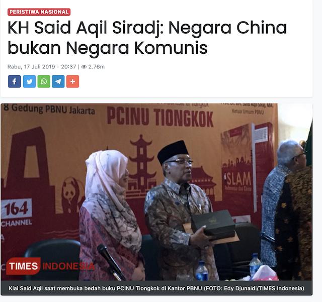 [Cek Fakta] Said Aqil Sebut Tiongkok Bukan Negara Komunis, Yang Komunis Justru Arab? Ini Faktanya