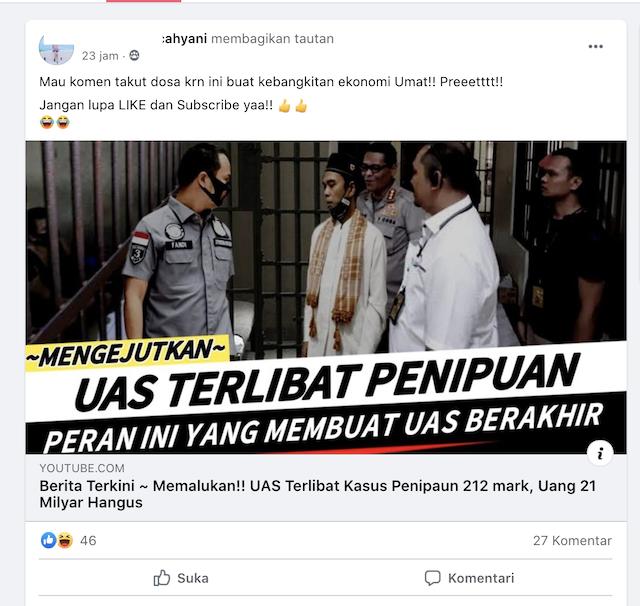 [Cek Fakta] UAS Terlibat Kasus Penipuan 212 Mart? Ini Faktanya