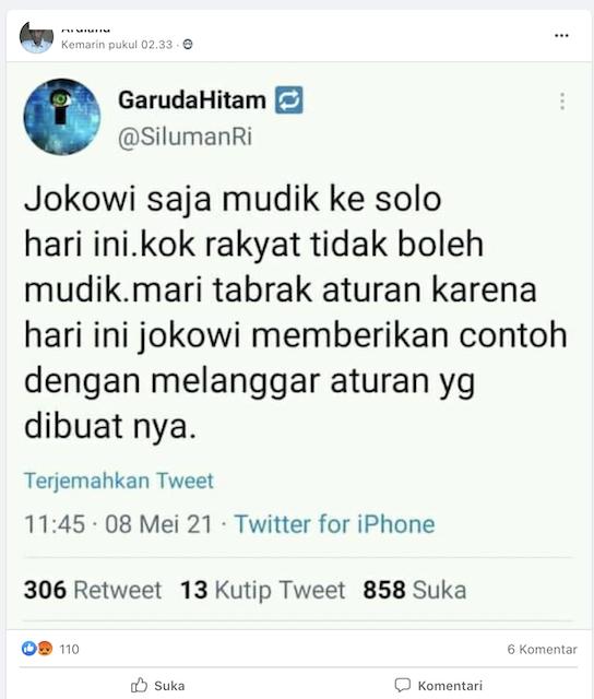 [Cek Fakta] Jokowi Mudik ke Solo? Ini Faktanya
