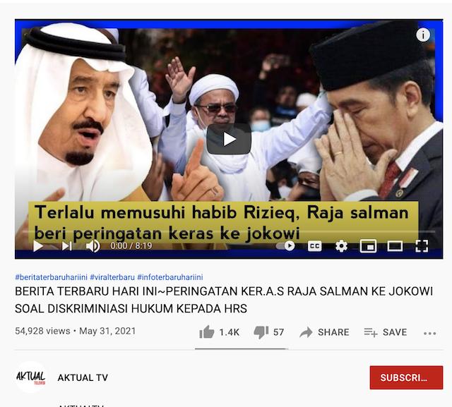 [Cek Fakta] Video Raja Salman Berikan Peringatan Keras ke Jokowi karena Musuhi Rizieq Shihab? Ini Faktanya