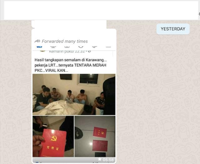 [Cek Fakta] Foto Penampakan Tentara Merah Tiongkok Menyamar jadi Pekerja LRT Ditangkap di Karawang? Ini Faktanya