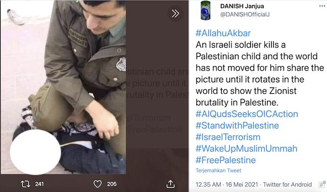 [Cek Fakta] Foto Tentara Israel Menginjak Kepala Anak Kecil Palestina Hingga Tewas? Begini Faktanya