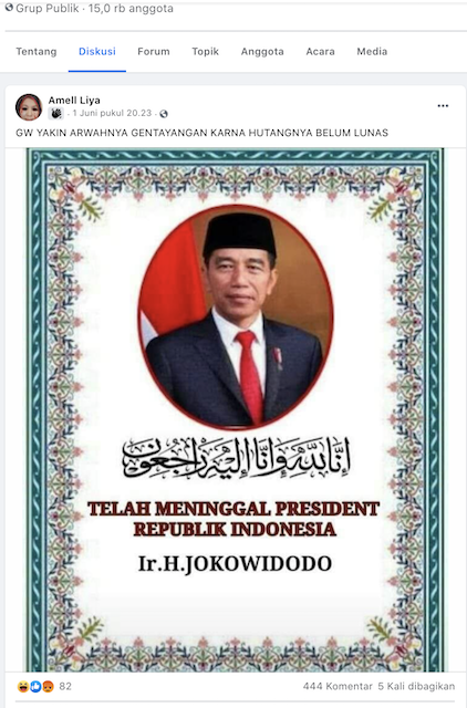 [Cek Fakta] Akun Facebook Ini Sebut Presiden Jokowi Wafat, Hoaks