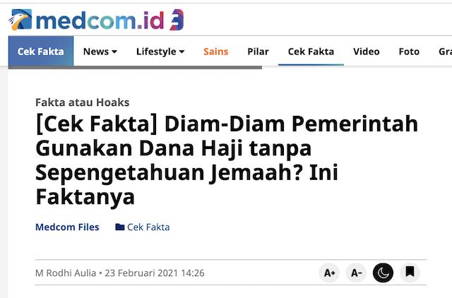[Cek Fakta] Ternyata Jokowi sudah Pakai Rp38 Triliun Dana Haji? Ini Faktanya