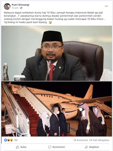 [Cek Fakta] Calon Jemaah Haji Indonesia tidak Diberangkatkan karena Uangnya Dipakai Pemerintah? Ini Faktanya