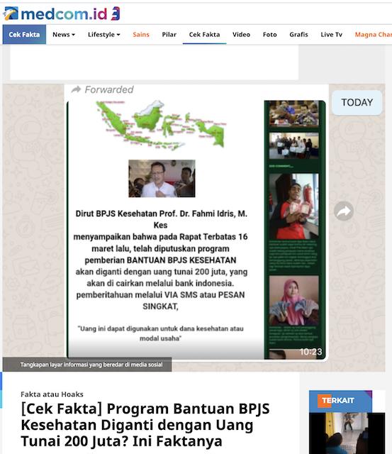 [Cek Fakta] BPJS Kesehatan Bagikan Dana Bantuan Rp200 Juta kepada Pelanggan Hoaks, Ini Cek Faktanya