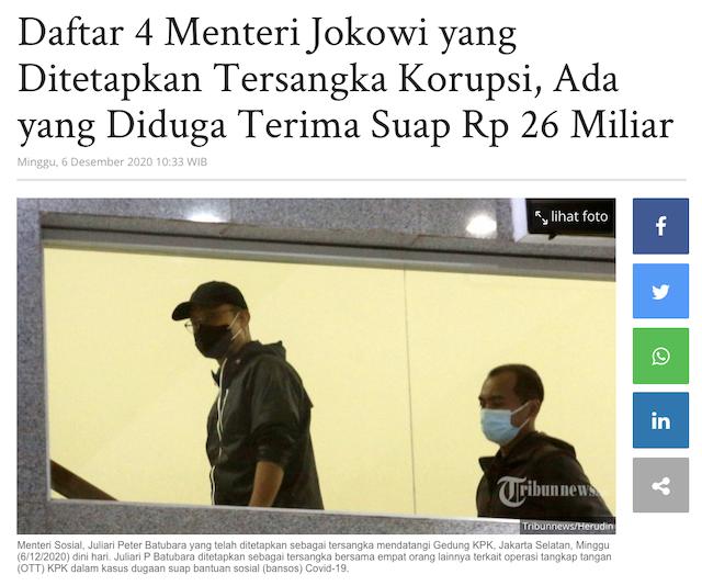 [Cek Fakta] Hampir 60 Persen Menteri Jokowi Terlibat Korupsi? Ini Faktanya