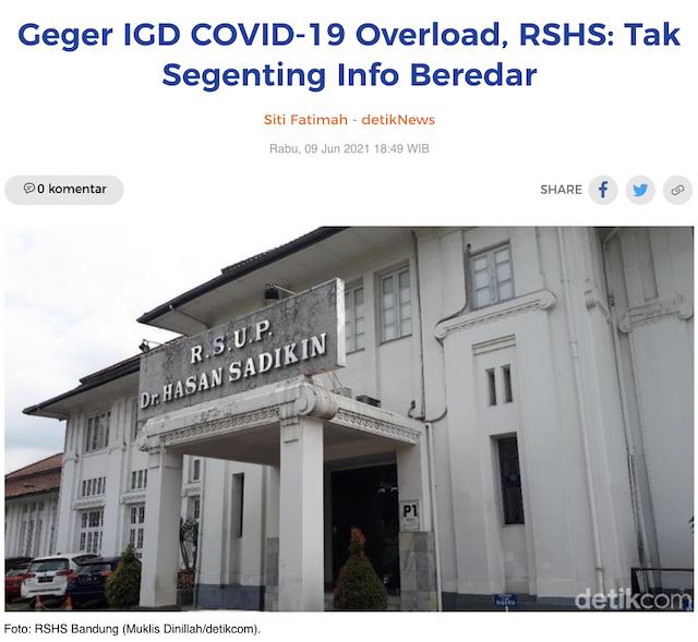 [Cek Fakta] RS Hasan Sadikin Bandung Dikabarkan <i>Overload</i> Pasien Covid-19? Begini Faktanya