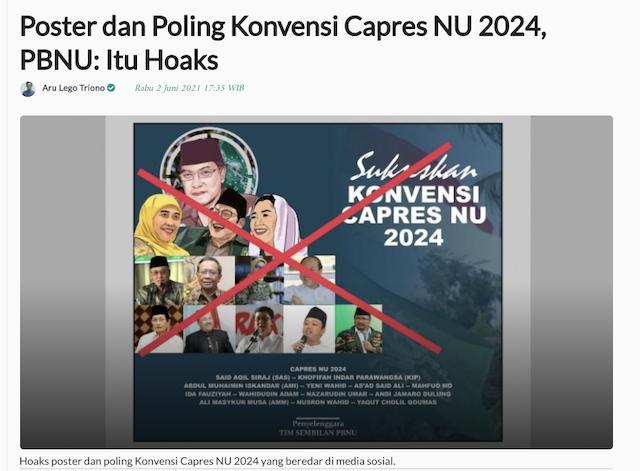 [Cek Fakta] NU Dikabarkan Gelar Konvensi Calon Presiden 2024? Ini Faktanya