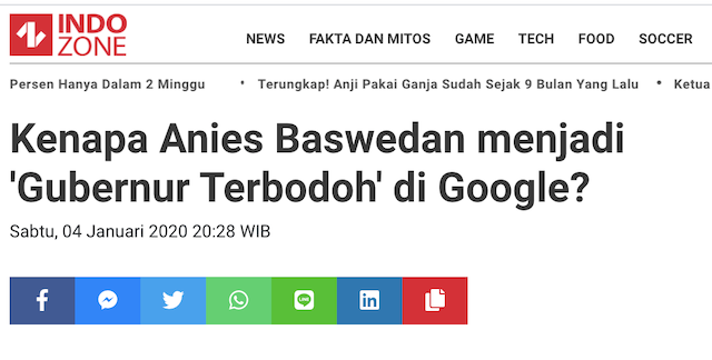 [Cek Fakta] Google Nobatkan Anies Baswedan Gubernur Terbodoh? Ini Faktanya