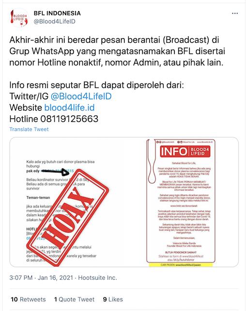 [Cek Fakta] Beredar Pesan Berantai soal Donor Plasma Blood for Life Indonesia? Ini Faktanya
