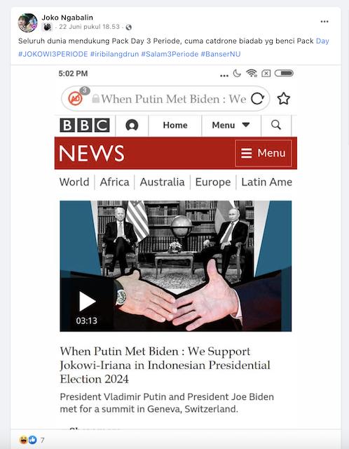 [Cek Fakta] Biden-Putin Dukung Pasangan Jokowi-Iriana pada Pilpres 2024? Begini Faktanya