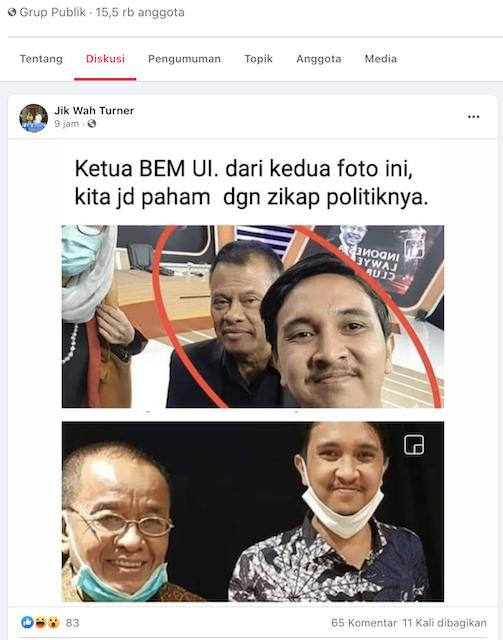 [Cek Fakta] Beredar Foto Ketua BEM UI dengan Said Didu dan Gatot Nurmantyo? Ini Faktanya