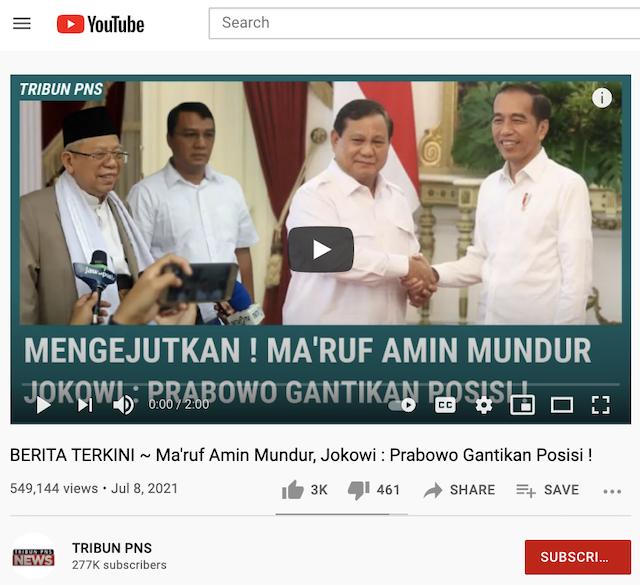 [Cek Fakta] Prabowo Subianto Gantikan Posisi Ma'ruf Amin yang Mengundurkan Diri? Ini Cek Faktanya