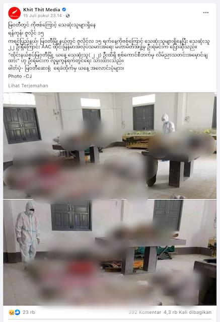 [Cek Fakta] Tersebar Foto Jenazah Covid-19 di Bekasi? Begini Faktanya