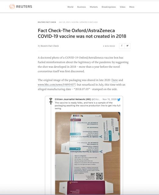 [Cek Fakta] Foto Kemasan Vaksin AstraZeneca Diproduksi 2018, Setahun sebelum Pandemi? Ini Faktanya