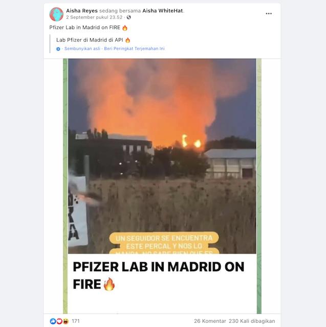 [Cek Fakta] Pabrik Pfizer di Madrid Spanyol Terbakar? Ini Faktanya
