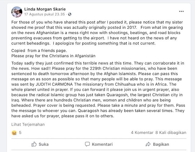 [Cek Fakta] Benarkah 229 Misionaris Dihukum Mati di Afghanistan? Begini Faktanya