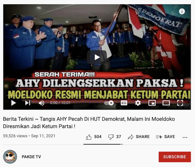 [Cek Fakta] Beredar Video AHY Dilengserkan, Moeldoko Diresmikan Jadi Ketum Partai Demokrat? Begini Faktanya