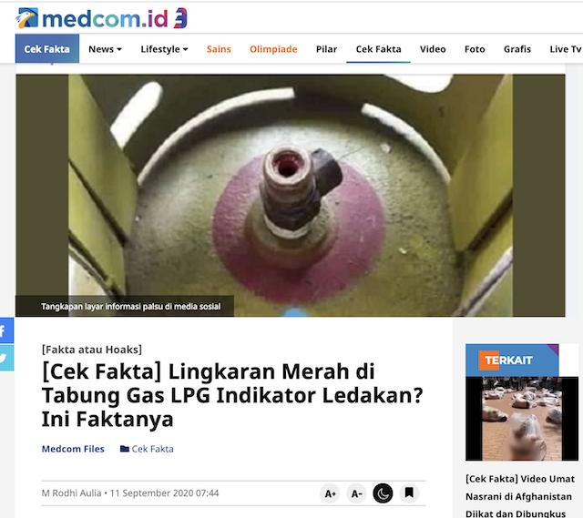 [Cek Fakta] Benarkah Lingkaran Merah pada Tabung Gas LPG Penanda Jika ada Kebocoran? Begini Faktanya