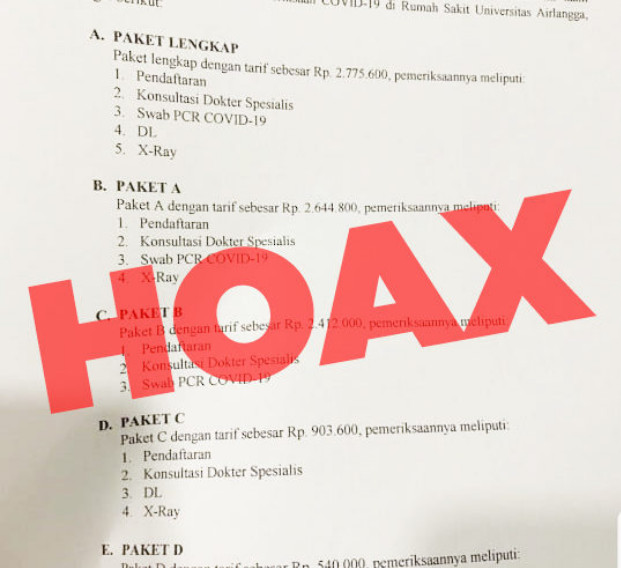 [Cek Fakta] RS Universitas Airlangga Pasang Tarif Tes Korona? Hoaks