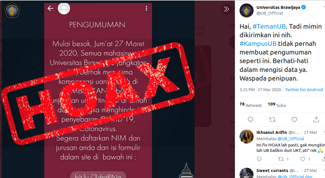 [Cek Fakta] Universitas Brawijaya Beri Kompensasi Uang Kuliah bagi Mahasiswa yang Melakukan Gerakan #dirumahaja? Hoaks