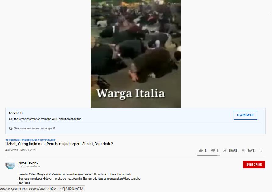 [Cek Fakta] Video Rakyat Italia dan Peru Bersujud Masal di Tengah Pandemi Covid-19? Ini Faktanya