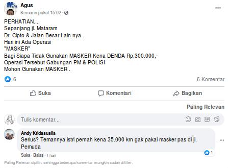[Cek Fakta] Denda Rp300 Ribu Bagi Pengendara Tak Memakai Masker di Semarang? Ini Faktanya