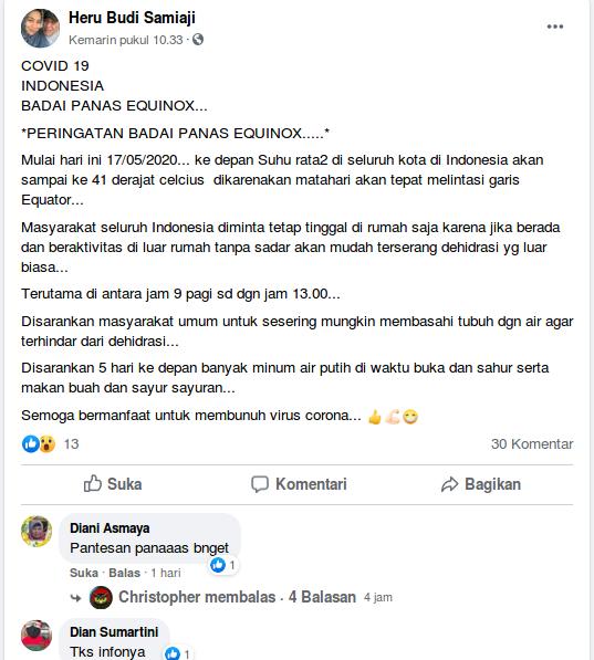 [Cek Fakta] Badai Panas Equinox akan Melanda Indonesia pada Mei 2020 Hoaks, Ini Faktanya