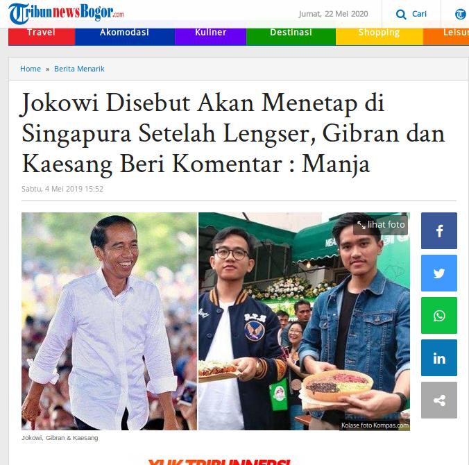 [Cek Fakta] Kabar Jokowi Siap Pindah Jadi Warga Negara Singapura Jika Lengser Hoaks, Ini Faktanya