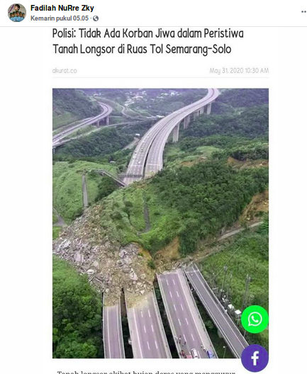 [Cek Fakta] Benarkah Foto Ini Memperlihatkan Longsor di Jalan Tol Semarang-Solo Arah Jakarta? Ini Faktanya