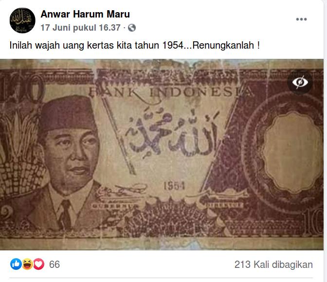 [Cek Fakta] Uang Kertas Pecahan 100 Rupiah Tahun 1954 Memuat Tulisan Arab? Cek Faktanya