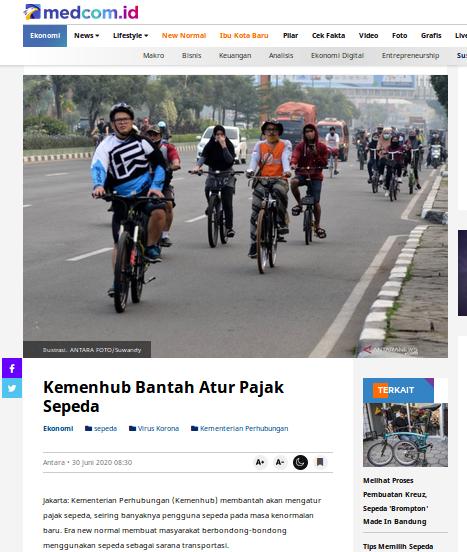 [Cek Fakta] Pemerintah Bakal Pungut Pajak Sepeda Hoaks, Ini Faktanya