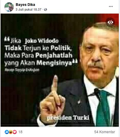 [Cek Fakta] Erdogan Sebut Indonesia akan Dipimpin Penjahat Jika Jokowi tak Jadi Presiden? Cek Faktanya