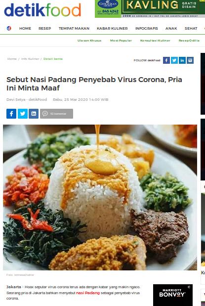 [Cek Fakta] Nasi Padang Menjadi Sumber Penularan Covid-19? Cek Faktanya