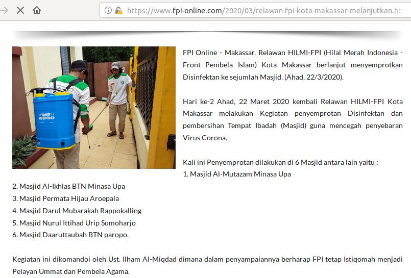 [Cek Fakta] Foto Anggota FPI Menyemprotkan Disenfektan Berisi Virus Korona? Cek Faktanya