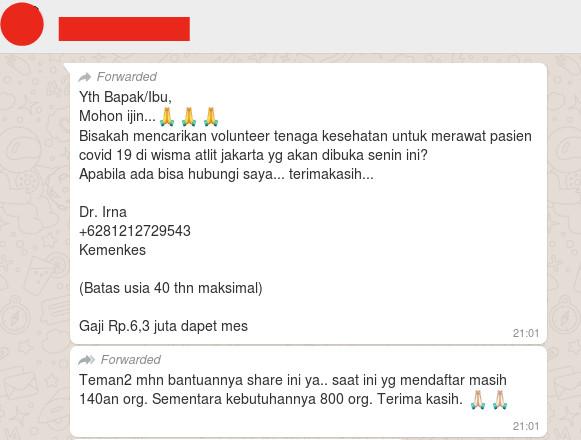 [Cek Fakta] Rekrutmen Volunter Penanganan Pasien Covid-19 Melalui Dokter Irna dari Kemenkes? Hoaks