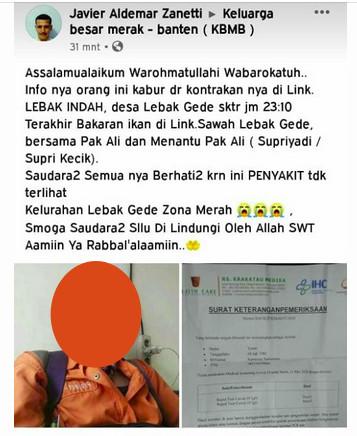 [Cek Fakta] Pasien Positif Covid-19 Kabur dari Rumah di Cilegon Banten? Ini Faktanya