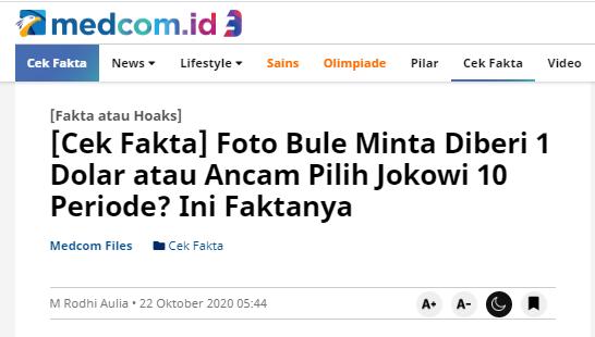 [Cek Fakta] Foto WNA Minta Diberi 1 Dolar atau Pilih Jokowi 10 Periode? Ini Faktanya