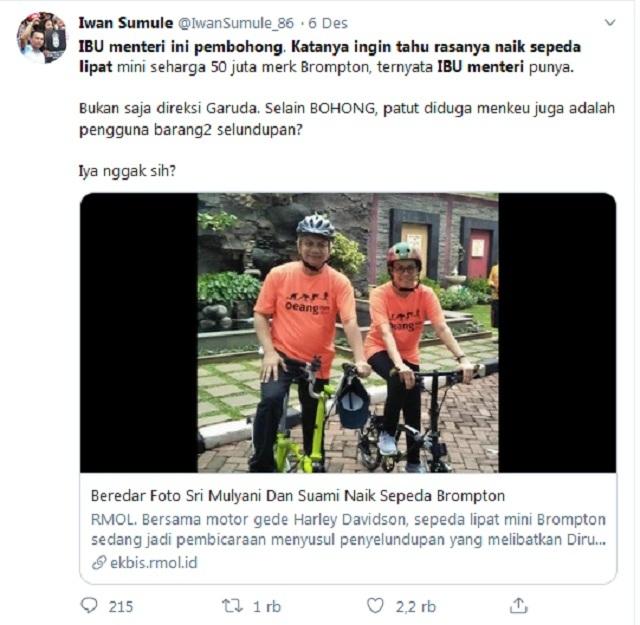 [Cek Fakta] Viral Foto Sri Mulyani dan Suami Naik Sepeda <i>Brompton</i> Milik Pribadi