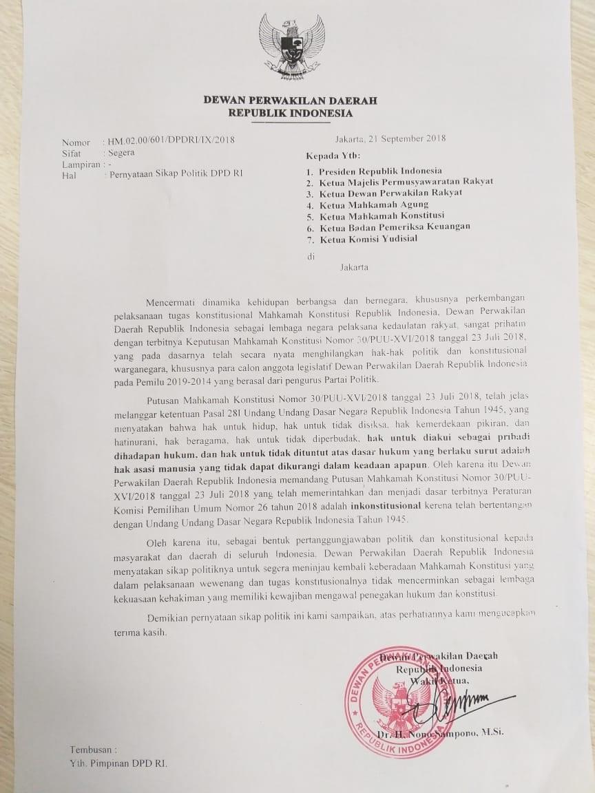 DPD Menyurati Presiden Minta Evaluasi Keberadaan MK