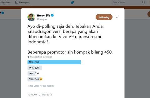 Vivo V9 Versi Indonesia Pakai Prosesor Lebih Rendah?